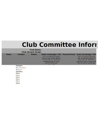 Committee Contact Information Template