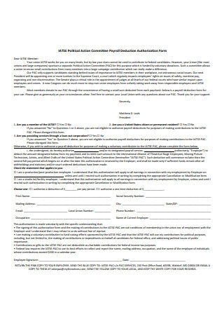 Committee Payroll Deduction Authorization Form