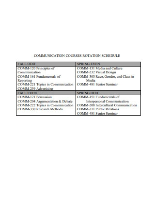 Communication Courses Rotation Schedule