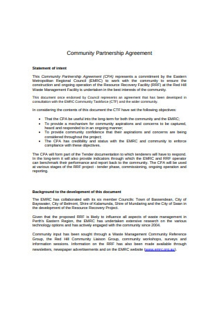 Community Partnership Agreement Format