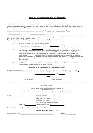 Community Rental Room Agreement