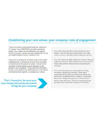 Company Core Value Statement