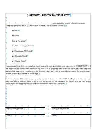 Company Property Receipt Form