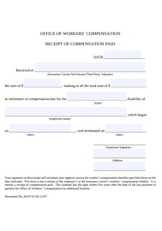 Compensation Paid Receipt