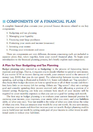 Components of Financial Plan