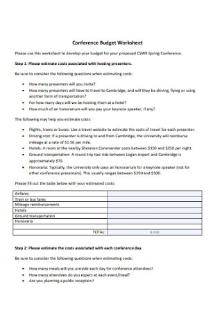 Conference Budget Worksheet