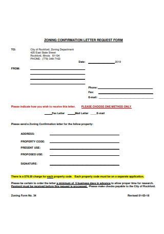 Confirmation Letter Request Form Sample