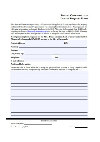 Confirmation Letter Request Form
