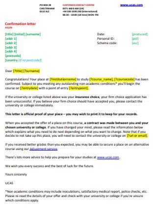 Confirmation Letter Sample