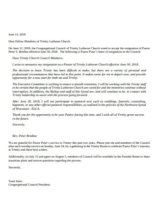 Congregational Letter of Resignation