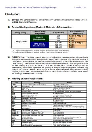 Consolidated Bill of Material