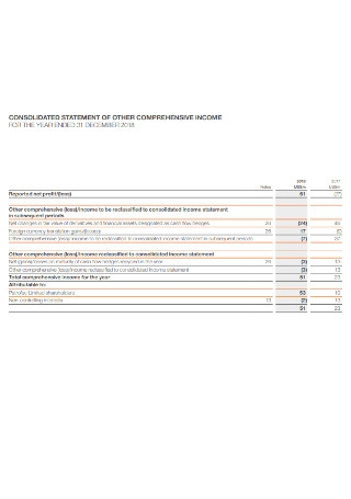 Consolidated Comprehensive Income Statement