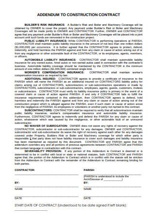 Construction Contract Addendum