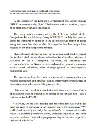 Consultancy Report on Auto Fuel Market