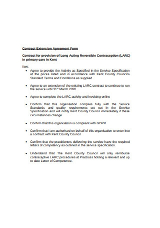 Contract Extension Agreement Form