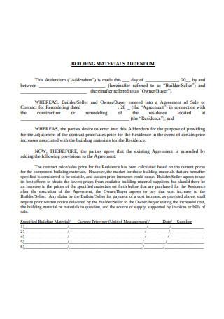 Contract Price Addendum