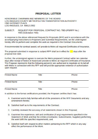 Contract Proposal Letter