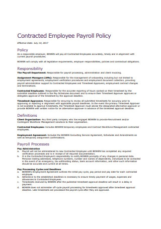 Contracted Employee Payroll Policy