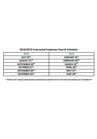 Contracted Employee Payroll Schedule