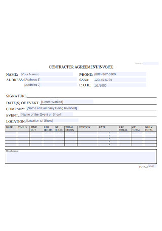 Contractor Agreement and Invoice
