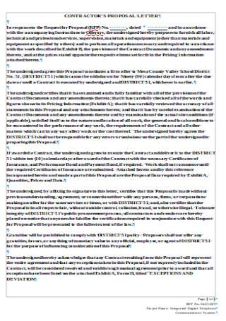 Contractors Proposal Letter