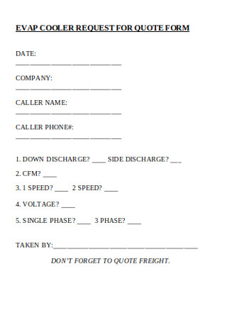 Cooler Request for Quote Form