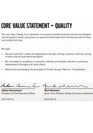 Core Value Quality Letter