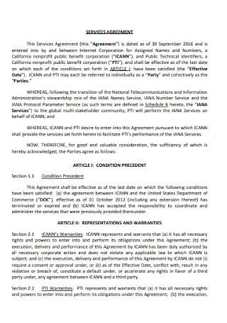 Corporate Service Agreement
