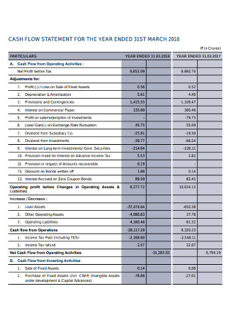Corporation Cash Flow Statement