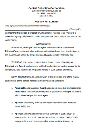 Corporation Collection Agency Agreement