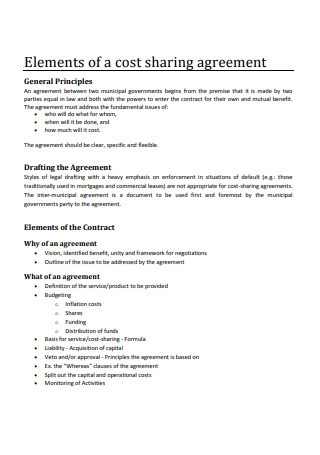 Cost Sharing Agreement Example