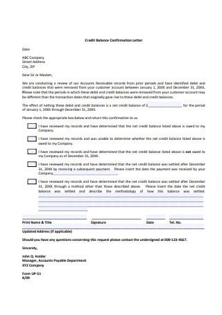 Credit Balance Confirmation Letter