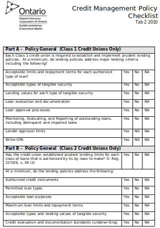 Credit Management Policy Checklist