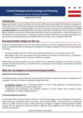 Criminal Background Screenings and Housing