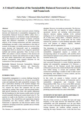 Critical Evaluation of the Sustainability Balanced Scorecard