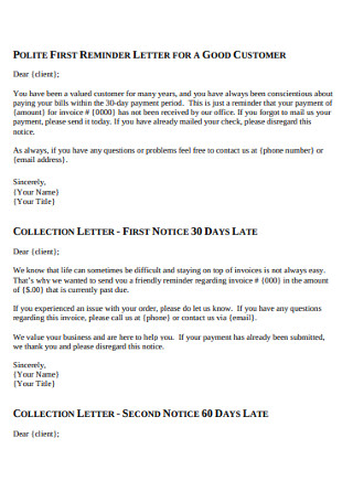 Customer Collection Letter
