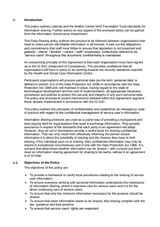 Data Sharing Agreement Policy