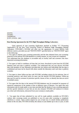 Data Sharing Agreement Sample