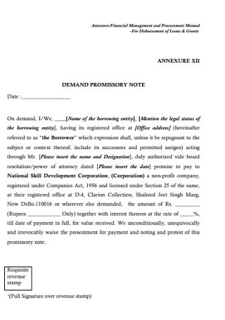 Demond Promissory Note