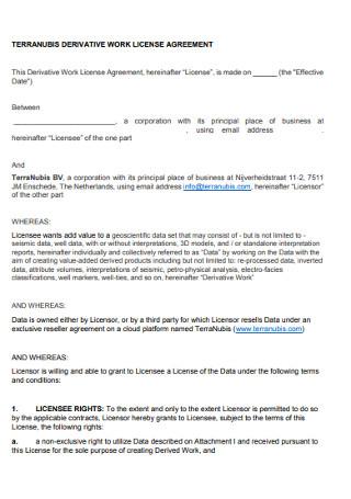 Derivative Work Licence Agreement