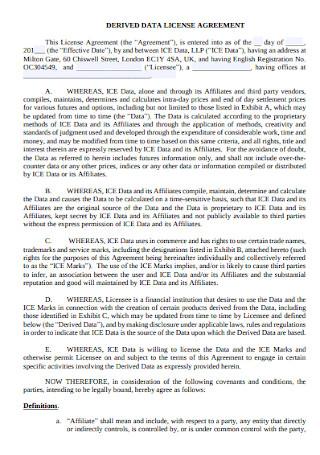 Derived Data License Agreement