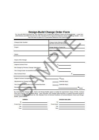 Design Build Change Order Form