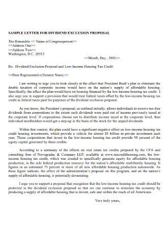 Dividend Exclusion Proposal Letter
