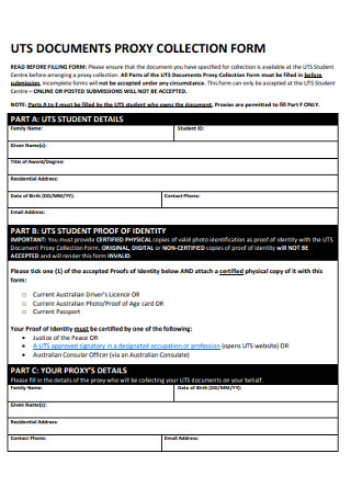 Documents Proxy Collection Form
