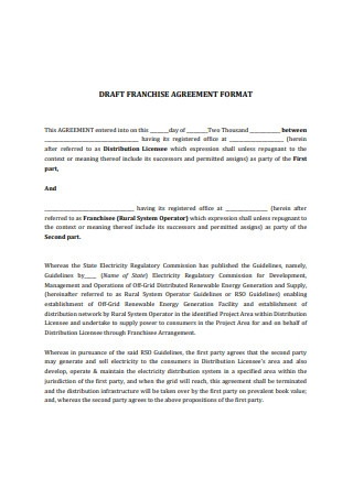 Draft Franchise Agreement Format