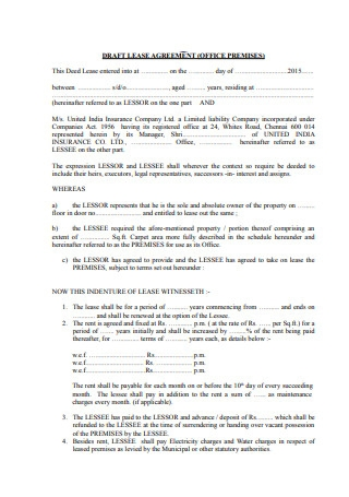 Draft Lease Agreement