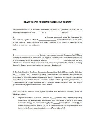 Draft Power Purchase Agreement Format