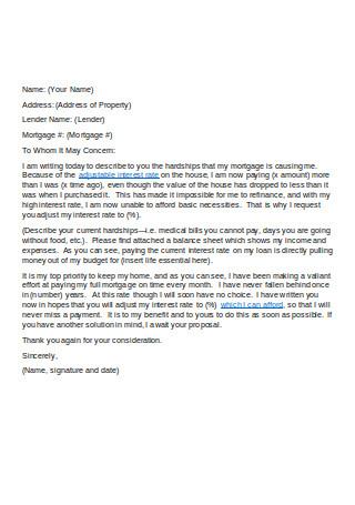 Editable Financial Hardship Letter
