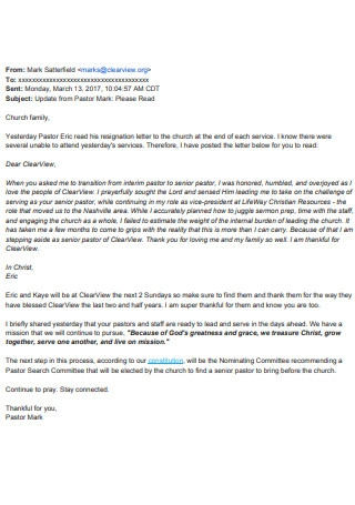 Email Church Religious Resignation Letter