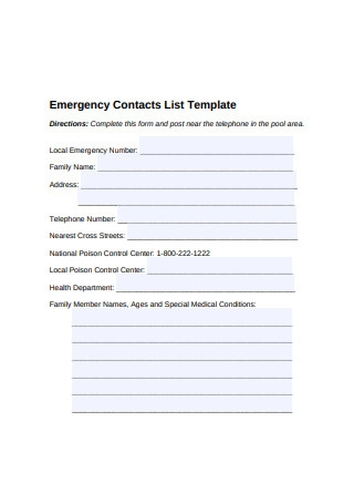 Emergency Contacts List Template